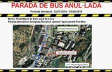 Anul·lada la parada de bus de plaça Laurèdia