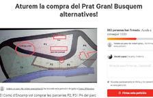 Convocatòria d'una protesta per mantenir el parc del Prat Gran