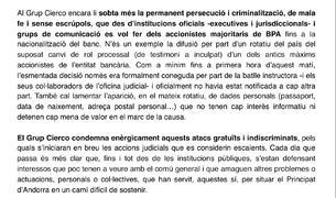 Extracte del comunicat dels Cierco.