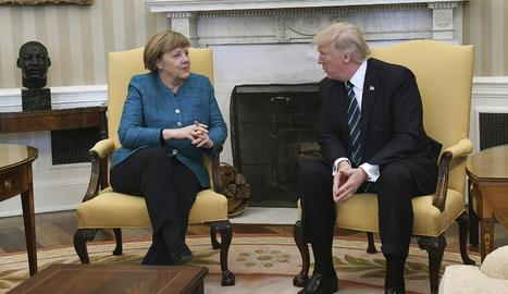 Donald Trump i Angela Merkel, ahir a Washington.